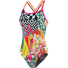 speedo JungleJazz Placement Double Crossback Swimsuit Women junglejazz black/electric pink